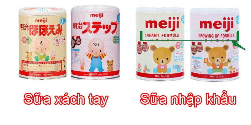 Sữa Meiji nhập khẩu về Việt Nam có cả chữ tiếng anh